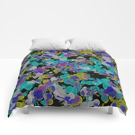 Dark Splatter - Abstract, paint splatter pattern in black, cyan, yellow, white and green Comforters