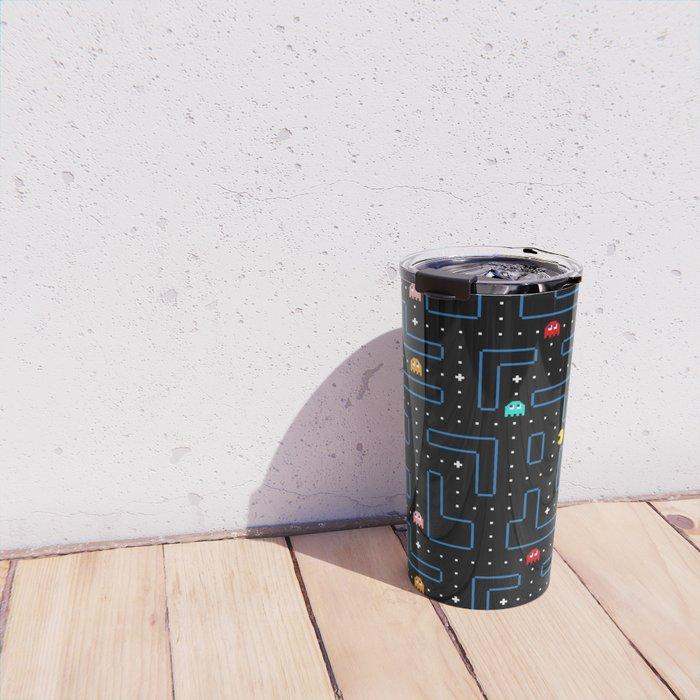 Pac-Man Retro Arcade Video Game Pattern Design Travel Mug