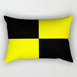 Bright Fluorescent Yellow Neon & Black Checked Checkerboard Rectangular Pillow