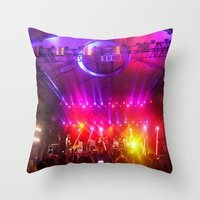 coachella Throw Pillows featuring Midnight City M83 Coachella by The Electric Blue / Yen-Hsiang Liang (Gr