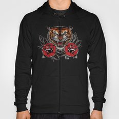 Old School Tiger and roses - tattoo Hoody