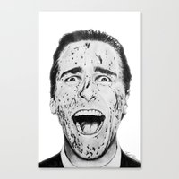 american psycho Canvas Prints featuring American Psycho by Aoife Rooney Art