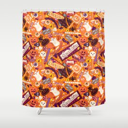 Creepy Halloween Candy on Orange Shower Curtain
