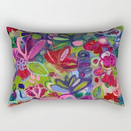 Once upon a wish - Intuitive flower painting - Mixed media Rectangular Pillow