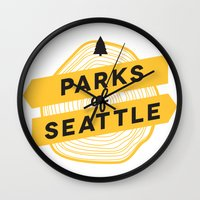 parks Wall Clocks featuring Parks of Seattle by Parks of Seattle