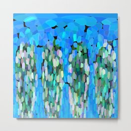 The Softest Blue Waterfall Abstract Metal Print