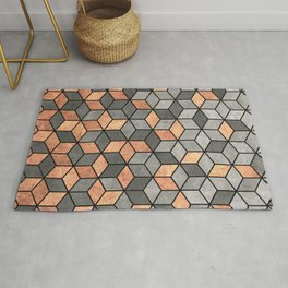 Concrete and Copper Cubes Rug