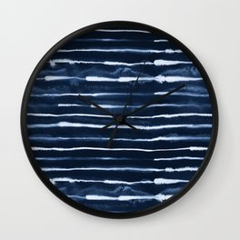 Electric Ink Indigo Navy Stripes Wall Clock