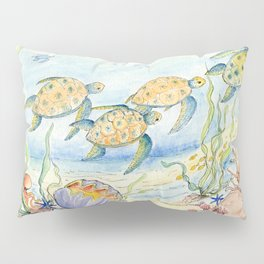 Sea Turtles, Coral and Kelp Pillow Sham
