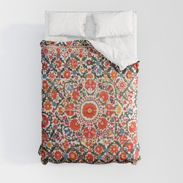 Bokhara Suzani  Antique Uzbekistan Floral Rug Print Comforters