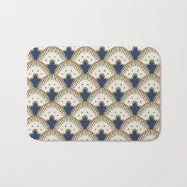 Fan Pattern Blue/Gold Bath Mat
