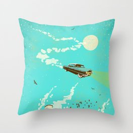 VINTAGE FLYING CAR Throw Pillow