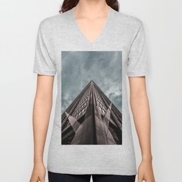 Epic Look Up View of the Chicago's John Hancock Building Unisex V-Neck