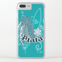 Vintage Piaia Maui Tribal Surf Collage Clear iPhone Case