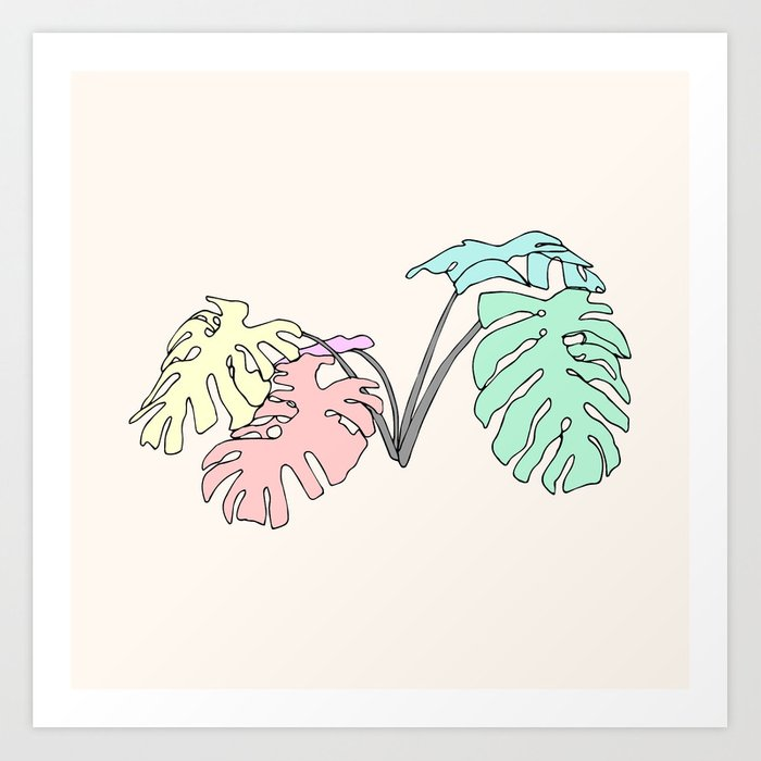 Pastel Monstera Art Print