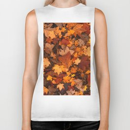 Autumn Fall Leaves Biker Tank