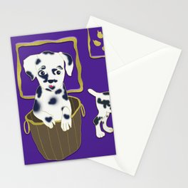 Purple puppy antics | Puppies at play Stationery Cards