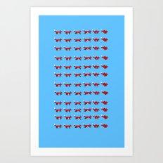Pixel foxes Art Print