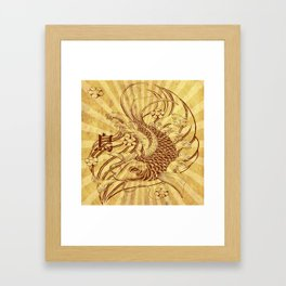 old fashion sun rays vintage japanese tatoo koi fish Framed Art Print