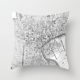 Vintage Map of Newark NJ (1872) BW Throw Pillow