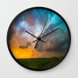 Glorious - Stormy Sky and Kansas Sunset Wall Clock