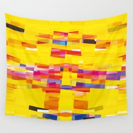 yellow pixel storm Wall Tapestry