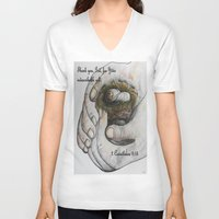 gift card V-neck T-shirts featuring His Indescribable Gift by EloiseArt
