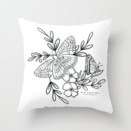 New Creation  2 Corinthians 5:17 Bible Verse Art Butterflies and Wildflowers Line Drawing Metamorphosis Botanical Sketch Entomology  Throw Pillow