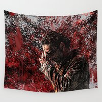 the walking dead Wall Tapestries featuring Walking Dead: Rick by André Joseph Martin