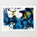 Dreamscape 01 in Blue, White & Gold by brucestanfieldartistpatterns