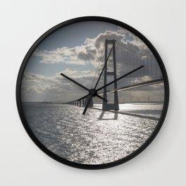 Suspension bridge Great Belt Denmark connecting the Zealand and Funen Wall Clock