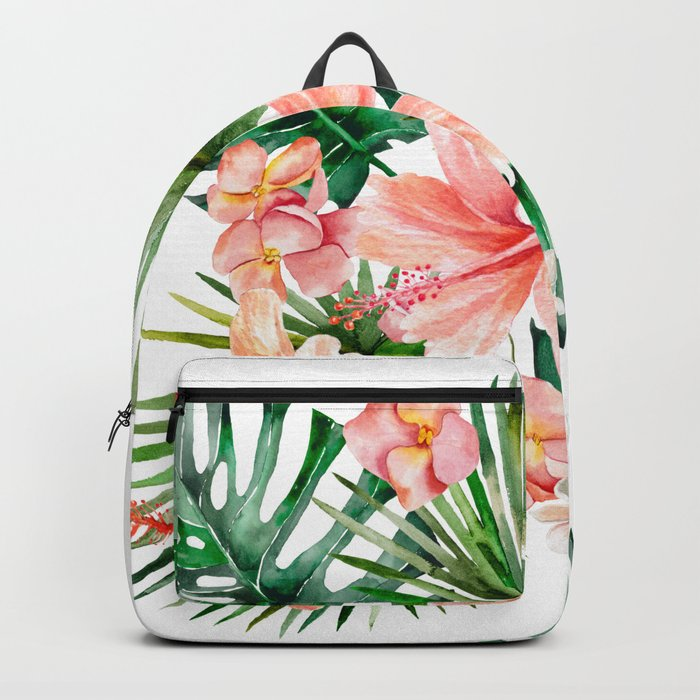 Tropical Jungle Hibiscus Flowers Floral Backpack By