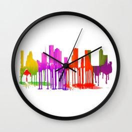 Houston, Texas skyline Puddles Wall Clock