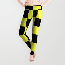 Black and Yellow Checkerboard Pattern Leggings
