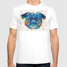 Pug Love Dog Art by Sharon Cummings Mens Fitted Tee MEDIUM White