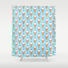 Doodle ice cream pattern on a blue background Shower Curtain