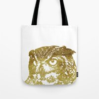 gold foil Tote Bags featuring Faux Gold Foil Owl by Stacie Clarke