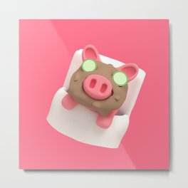 Rosa the Pig does Mud Bath Metal Print