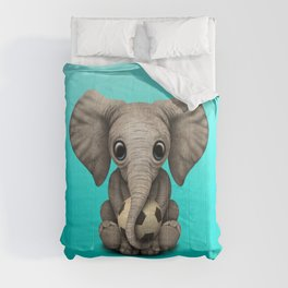 Cute Baby Elephant With Football Soccer Ball Comforters