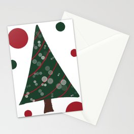 Red & Green Christmas Tree Pattern Stationery Cards