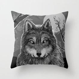 Wolf and Desert 3 Throw Pillow