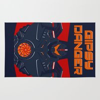 pacific rim Area & Throw Rugs featuring Pacific Rim - Gipsy Danger - Minimal Poster by John Takacs