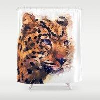 leopard Shower Curtains featuring Leopard by jbjart