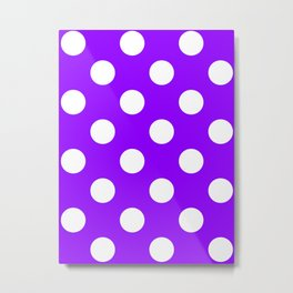 Large Polka Dots - White on Violet Metal Print