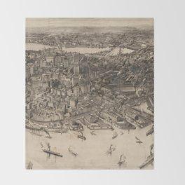 Vintage Pictorial Map of Boston (1905) Throw Blanket