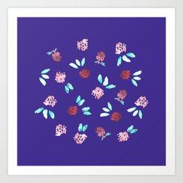 Clover Flowers on Purple Art Print