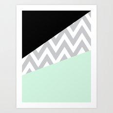 Mint & Black Chevron Block Art Print