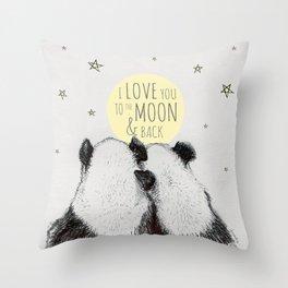 Pandas love to the moon & back Throw Pillow