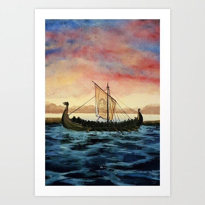 Drakkar, watercolor Kunstdrucke