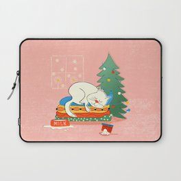 Sleeping White Christmas Cat Laptop Sleeve